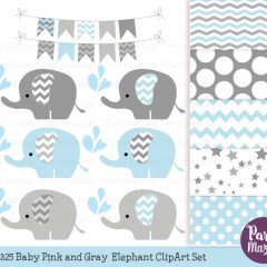 Baby Blue Elephant Clipart & Digital Paper Pack Set E295