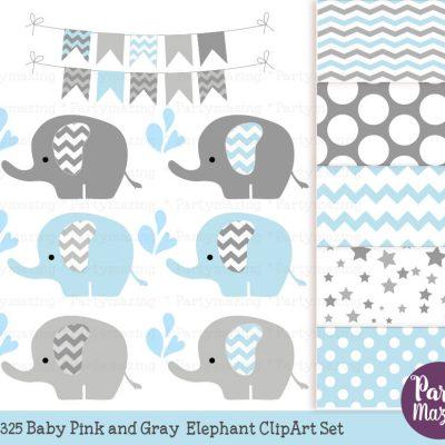 Baby Blue Elephant Clipart & Digital Paper Pack Set E295