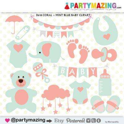 Baby Stuff Baby Shower Clipart Set   E375