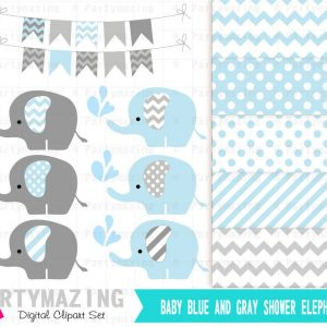 Blue Baby Elephant Sprinkle Water Baby Shower Set Clipart and Digital Paper Set | E356