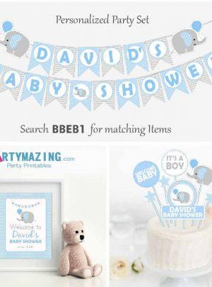 Blue Elephant Baby Shower Party set | DIY Editable Full Party Decoration Kit Express Set| PK03 | E020