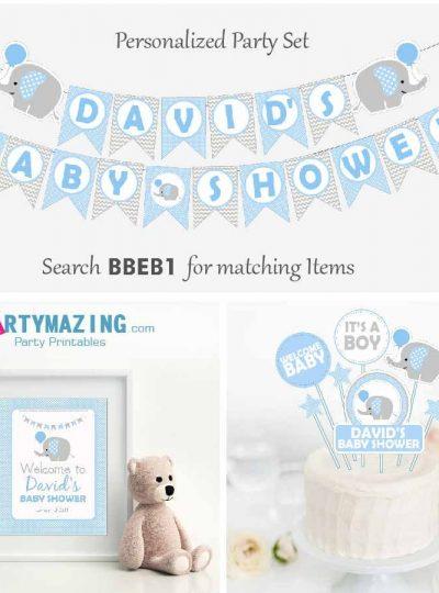 Blue Elephant Baby Shower Full Party set | E020