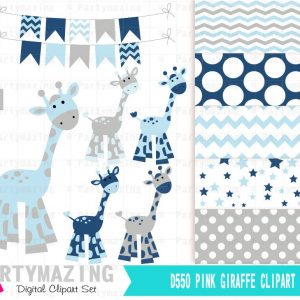 Blue Giraffe Clipart Set for Baby Shower with Matching Paper | E382