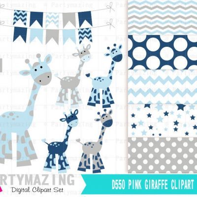 Blue Giraffe Clipart Set for Baby Shower with Matching Paper   E382