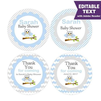 Blue Owl Baby Shower tags or Labels to make your Cute Boy Baby Shower Party Favors | Editable Tag | E084