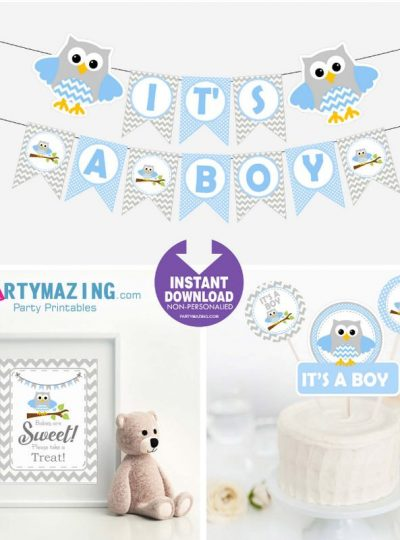 Blue Owl Printable Baby Shower Express Party Set | E002