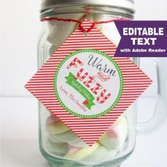 Christmas Warm and Fuzzy Holiday Wishes Favor Gift Tag | E363