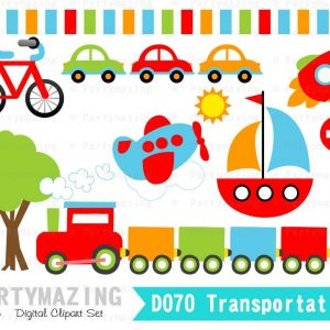 Colorful Transportation Clipart Graphic Set | E281
