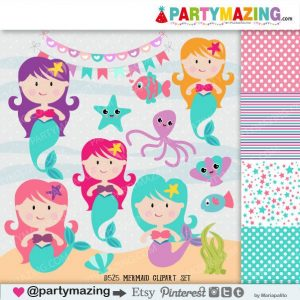 Cute Girl Mermaid Clipart Set | Under the sea Clip Art Graphics | E376