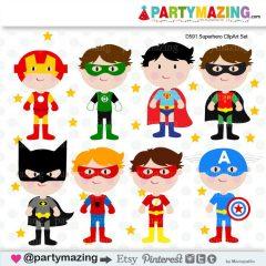 Cute Superhero Kids Clipart Set Including Batman , Robin,  Flash,  Captain America,  Superman and Green Lantern   E243