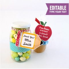Editable Apple and Pencil School Teacher appreciation Tag | E156