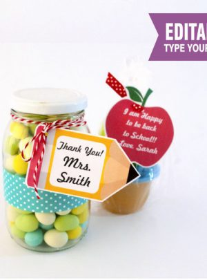 Apple and Pencil Printable Teacher appreciation Tag | E156
