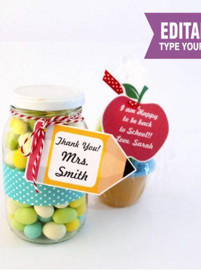 Apple and Pencil Printable Teacher appreciation Tag | E156