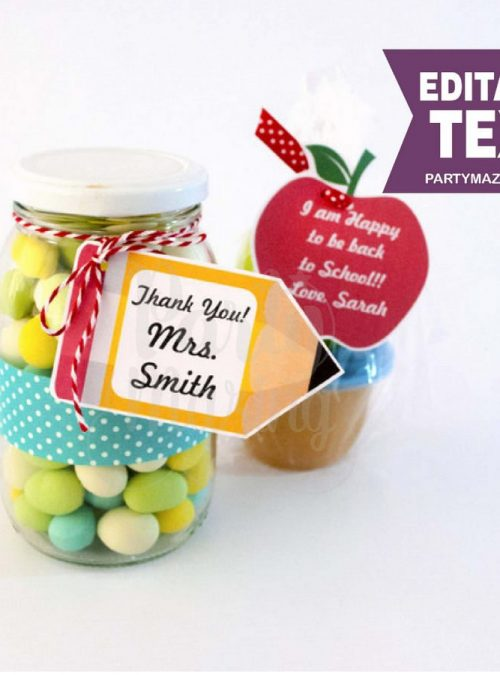 Editable Apple and Pencil School Teacher appreciation Tag | E156