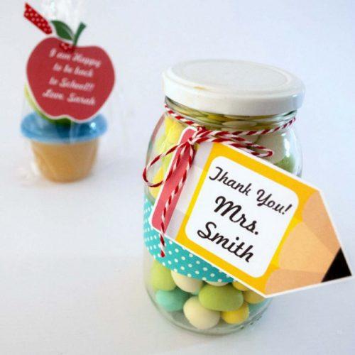 Editable Apple and Pencil School Teacher appreciation Tag   E156