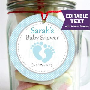 Editable Baby Feet Baby Shower Tag | E161