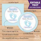 Editable Baby Feet Baby Shower Tag | E161