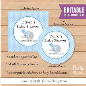 Editable Blue Baby Elephant Party Favor Tags | E087