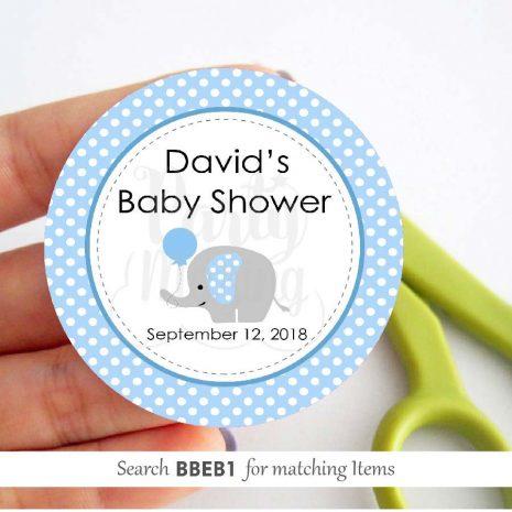 Editable Blue Baby Elephant Party Favor Tags | E087