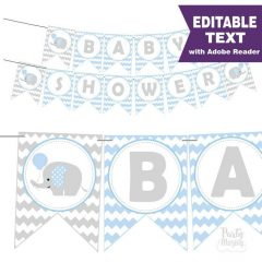 Editable Blue Elephant Baby Shower Banner Garland | E164