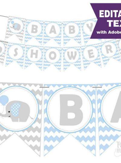 Blue Elephant Printable Baby Shower Banner | E164