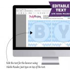 Editable Blue Elephant Baby Shower Banner Garland | E164