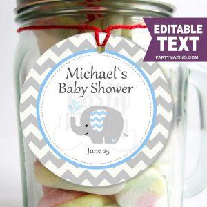 Editable  Blue Elephant Baby Shower Tags E288