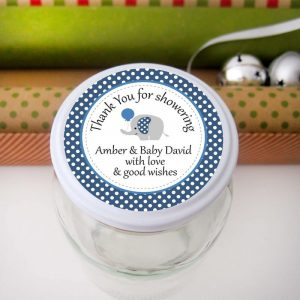 Editable Blue Elephant Baby Shower Thank You Tag | E349