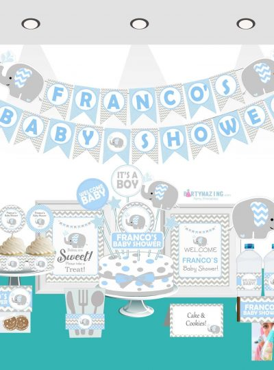 Blue Elephant Baby Shower Printable Full Party Set | E030