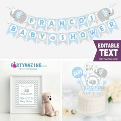 Editable Blue Elephant Boy Baby Shower Full Party Decoration Kit | PK03 | E030