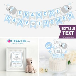 Editable Blue Elephant Boy Baby Shower Full Party Decoration Kit | BBEB2 | E030