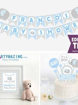 Editable Blue Elephant Boy Baby Shower Full Party Decoration Kit | PK03 | E030