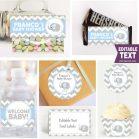 Editable Blue Elephant Boy Baby Shower Full Party Decoration Kit | BBEB2 | E030