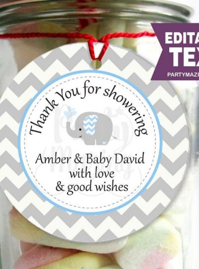 Blue Elephant Printable Baby Shower Party Favor Tag E068
