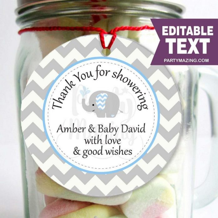 Editable Blue Elephant Thank You for Showering Tags for Baby Shower Party Favor | E068