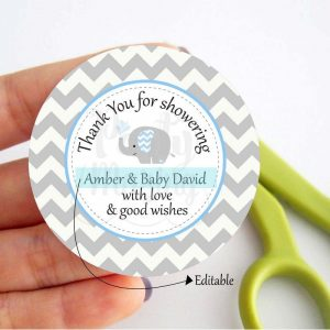 Blue Elephant Thank You Tags | Printable Baby Shower Party Favor Tag | PK03 | E068