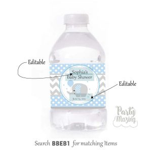 Editable Blue Elephant Water Bottle Labels for Baby Boy Baby Shower Party or Birthday Party | E167