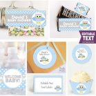 Editable Blue Owl Baby Shower Set FULL Party Package for Boy | E007
