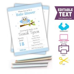 Editable Blue Owl Invitation for your Modern Boy Baby Shower or Boy Birthday Party | BBOB1| E061