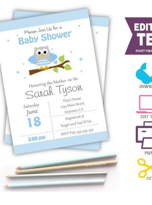 Blue Owl Printable Baby Shower or Birthday Invitation E061