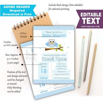 Editable Blue Owl Invitation for your Modern Boy Baby Shower or Boy Birthday Party   BBOB1  E061