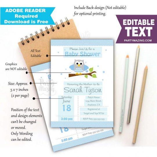 Editable Blue Owl Invitation for your Modern Boy Baby Shower or Boy Birthday Party | BBOB1| E061