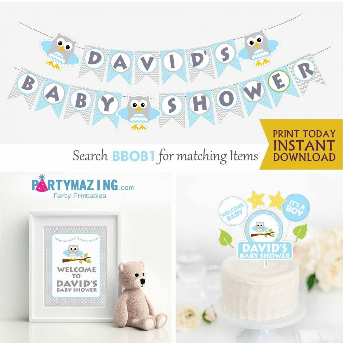 Editable Blue Owl Owl Printable Full Party Package Set for Birthday Party or Baby Shower | BBOB1 | E003