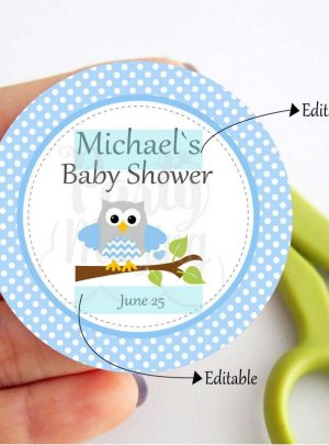 Blue Owl Printable Party Favor Tags E088