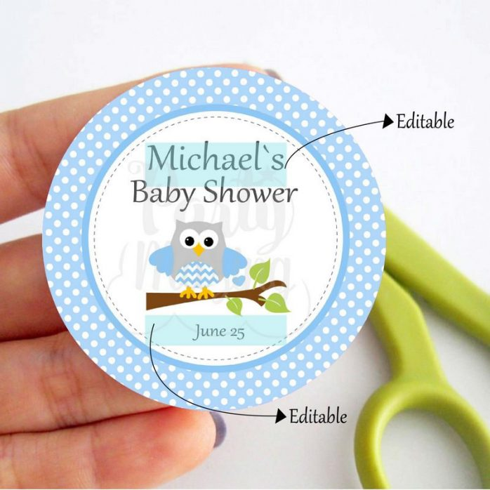Editable Blue Owl Tags for Baby Shower Stickers or Party Favor Tags | Editable Tag | E088