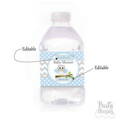 Editable Blue Owl Water Bottle Wrappers or Stickers | E083