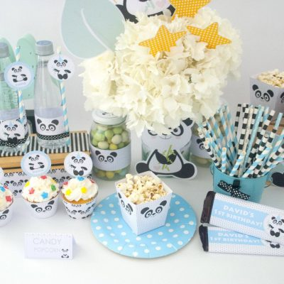 Editable Blue Panda Party Full Package Set for Birthday or Baby Shower | E178