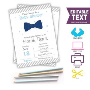 Editable Bow Tie Invitation| Little Man Invitation | Printable Oh Boy Baby Shower| E052