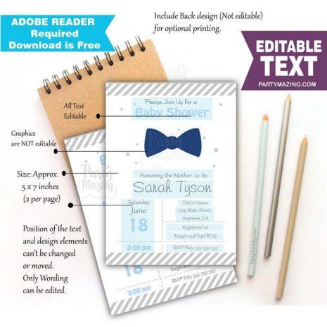 Editable Bow Tie Invitation| Little Man Invitation | Printable Oh Boy Baby Shower | Editable Text Invite | Boy Shower Invite | BBLM1 | E052