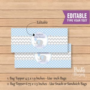 Editable Boy Bag Toppers with Elephant With Balloon | E298